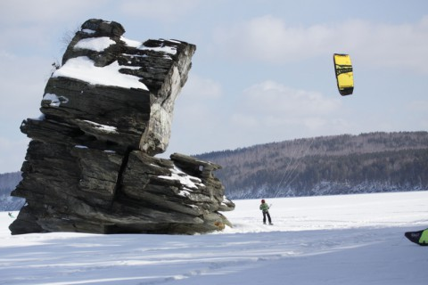 Сноукайтинг на озере Иткуль