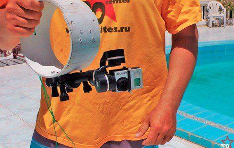 3-х осевой электронный стабилизатор для экшен камеры на кайте